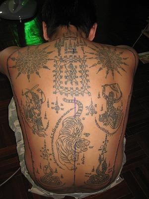 Native tibetian buddhist with full back tattoo