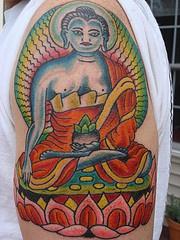 Vishnu hindu deity tattoo on shoulder