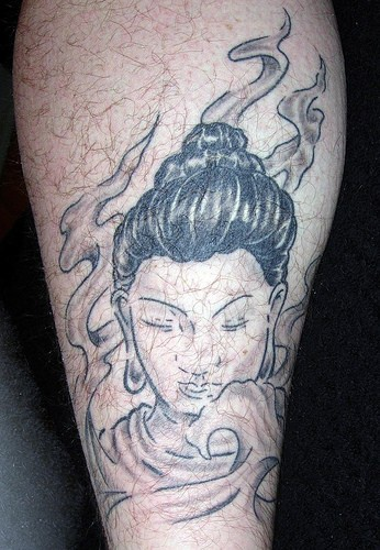 Buddha in flames black tattoo