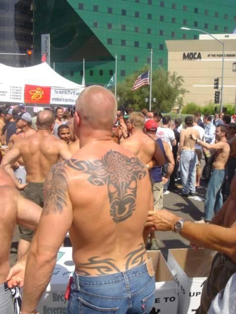 Tribal bull tattoo on back