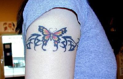Butterfly tribal armband tattoo