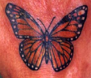 realistico farfalla monarco tatuaggio