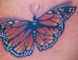 farfalla origginalemonarch tatuaggio in 3d