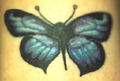piccola farfalla blu tatuaggio