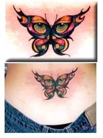 farfalla con occhi su ali tatuaggio