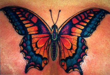 farfalla gialla e  blu bellissima tatuaggio