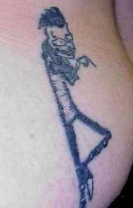 Cartoonish modern skeleton tattoo