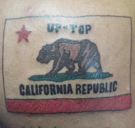 California flag coloured tattoo