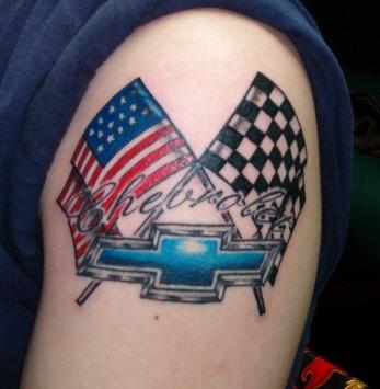 Patriotic chevrolet logo tattoo