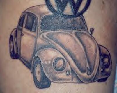 Classic volkswagen beetle black tattoo