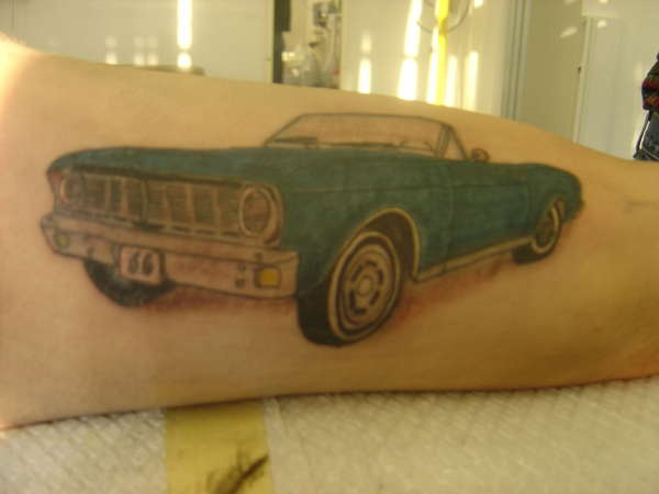 Blue old classic cabriolet tattoo