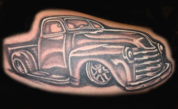 Classic roadster black ink tattoo