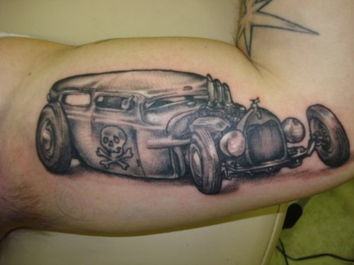 Hot rod with skull and bones black tattoo