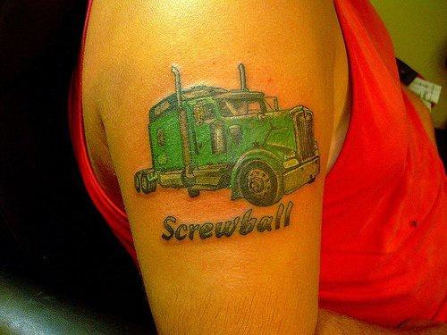 Screwball green auto truck tattoo for Truck tattoos designs
