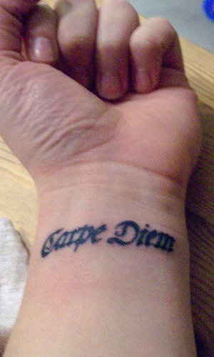 Carpe diem inner wrist tattoo
