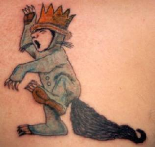 Cartoon character tattoo in colour