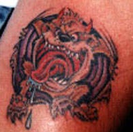 3d tattoo with tasmanian devil