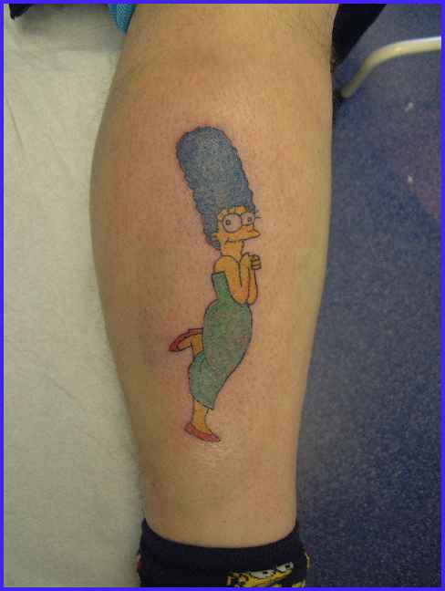 Marge simpson tattoo on leg