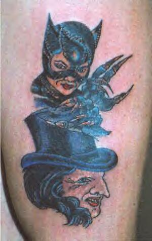 Cat-woman and penguin tattoo