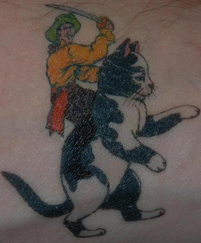 Cat cavalry coloured tattoo