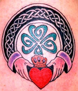 Clover with Claddagh ring coloured tattoo