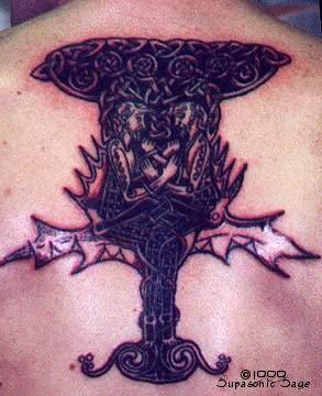 Mythological world tree illustration tattoo
