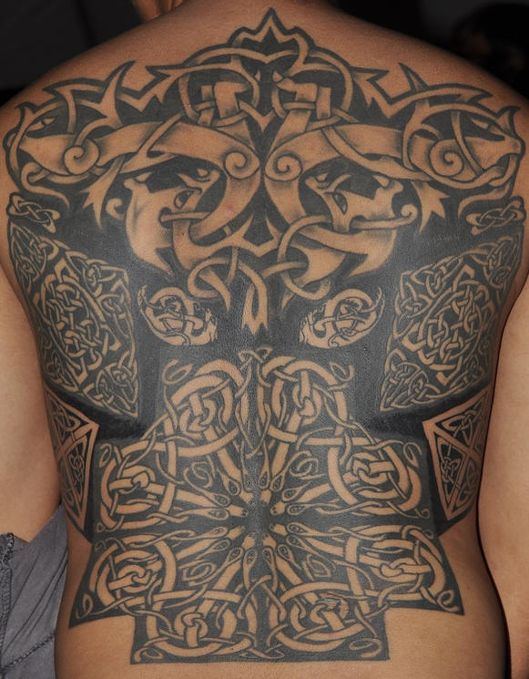 Celtic style full back tattoo