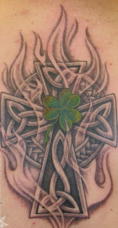 Celtic cross and shamrock tattoo
