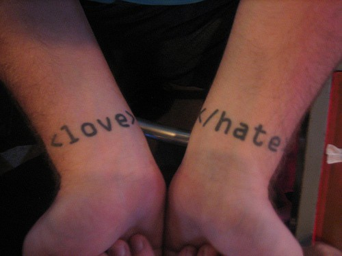Love and hate it theme tattoo
