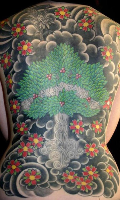 Cherry blossom tree tattoo on whole back