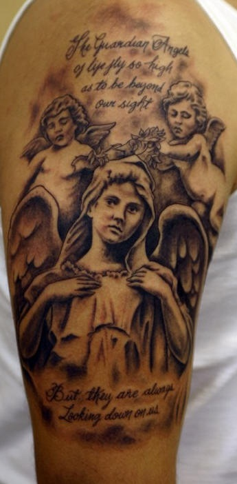 Angel and two cherubs memorial black ink tattoo