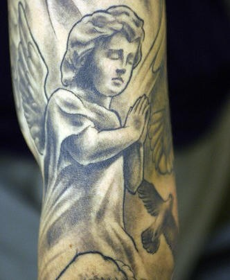 Little praying angel tattoo for Praying angel tattoos