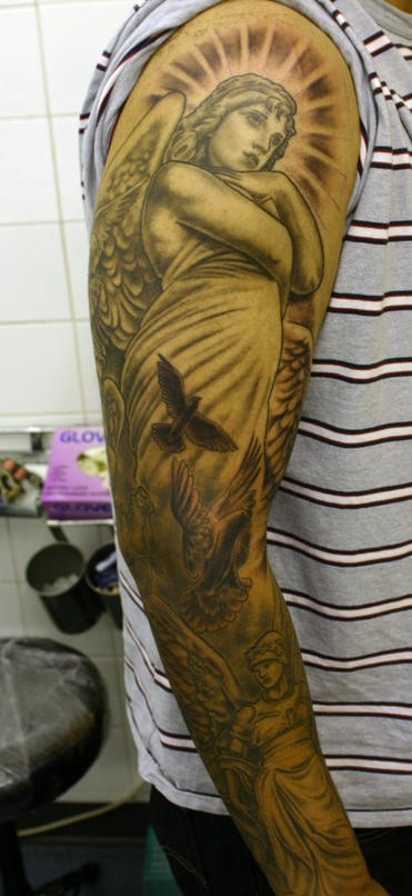 Angel statues and flying doves full sleeve tattoo ...
