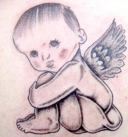 Baby cherub black ink tattoo