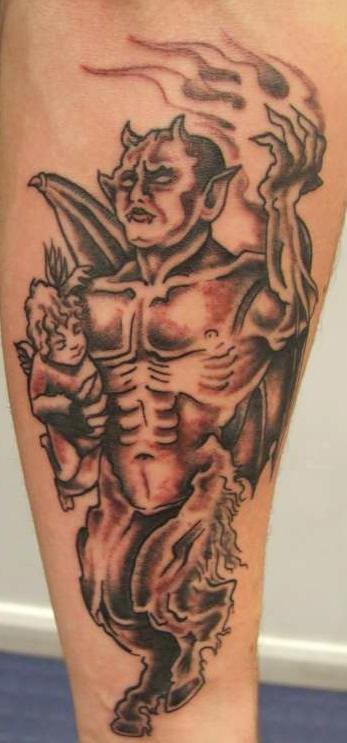 Devil with cherub in hands tattoo