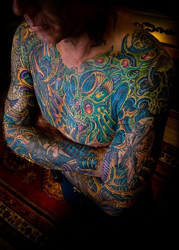 Colorful Large Chest Tattoo