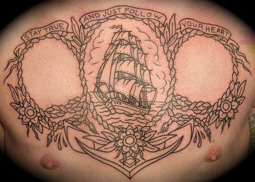 Grande tatuaggio Nave a vela