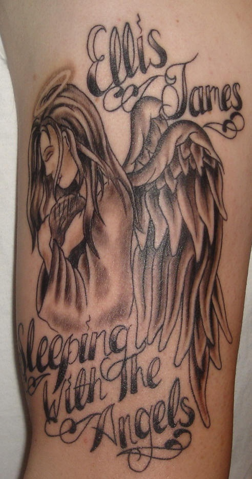 Angel in sorrow memorial tattoo