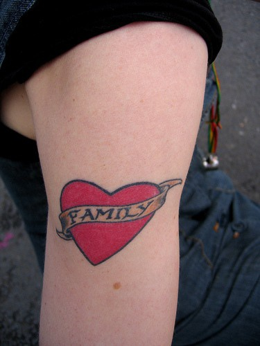 Family in red heart tattoo