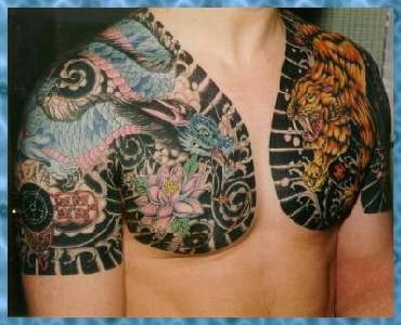 Dragon fights tiger yakuza style tattoo for Japanese style chest tattoos