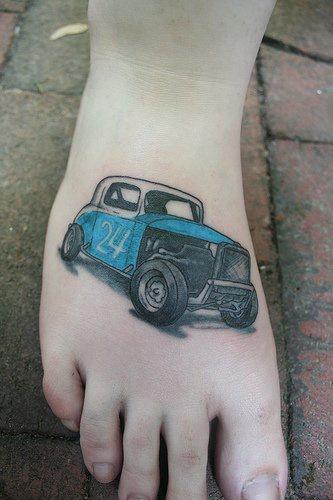Racing hot rod tattoo on feet