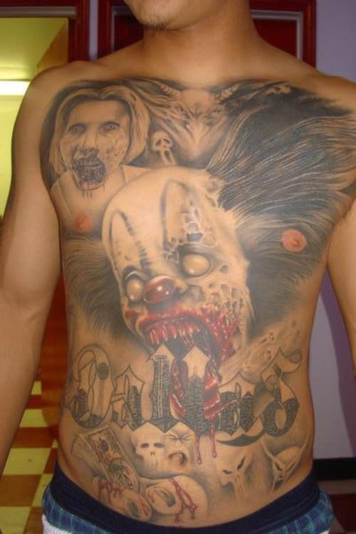 Latin zombie clown full front tattoo