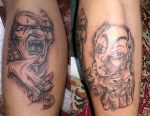 Two clowns with dice both leg tattoo
