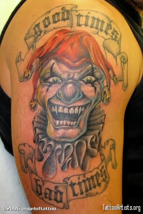 Good times bad times laughing clown tattoo