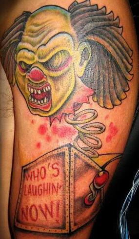 Voodoo zombie clown toy tattoo