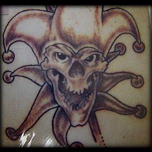 Psycho buffoon skull tattoo