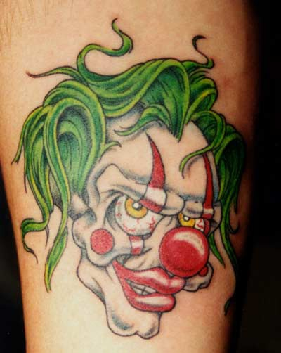 Wicked clown tattoo in colour