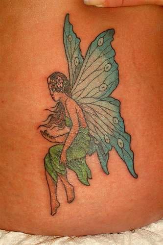 Blue winged fairy tattoo