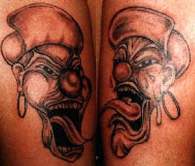 Two crazy clowns in hat tattoo