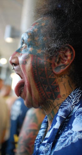 Crazy tattoo on face